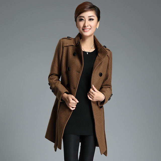 Fashion elegant brief women's 2013 autumn and winter epaulette stand collar double breasted medium-long woolen overcoat