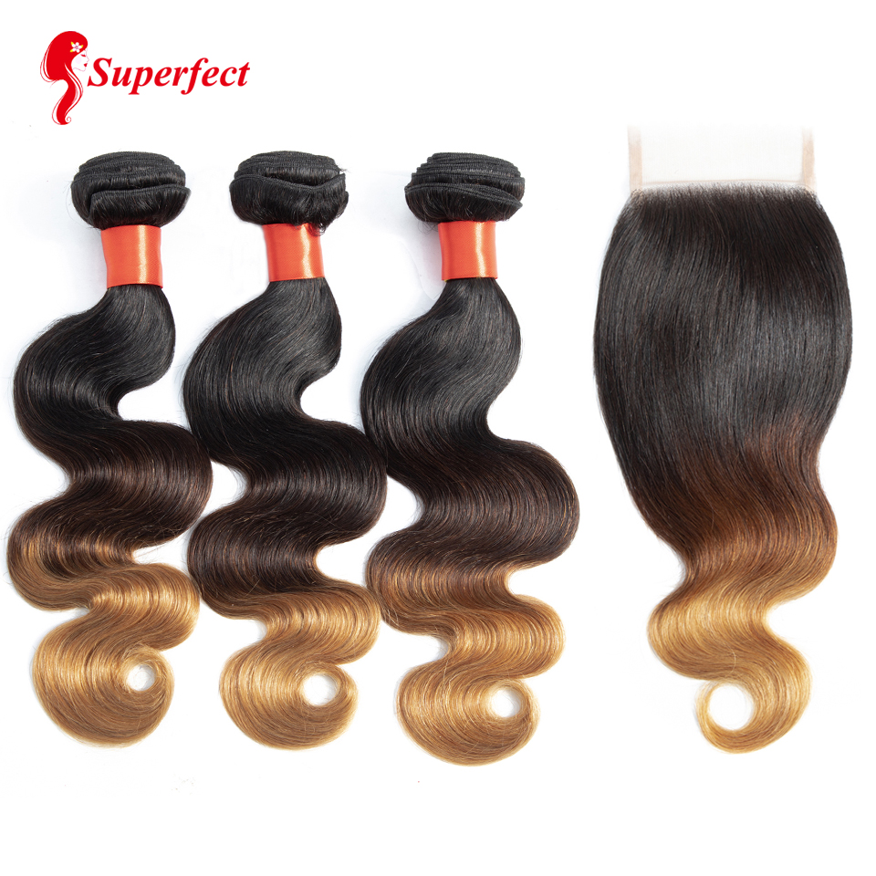 Superfect Ombre Bundles with Closure 1B 4 27 Brazilian Body Wave Blonde Human Hair Remy 3
