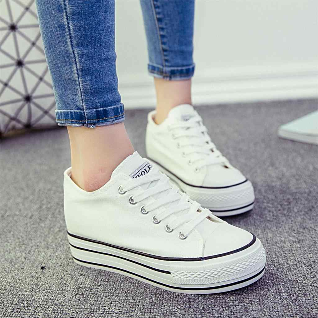 Women Sneakers White Canvasl Shoes Platform Casual Shoes Increasing Sneaker  Lace Up Vulcanize Woman Shoes Breathable 6d3898151012
