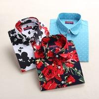 Dioufond New Women Print Blouses 2017 Cotton Floral Ladies Tops Long Sleeve Blusas Femininas Plus Size