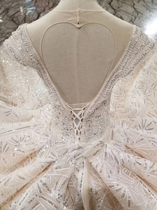 Image 5 - HTL001 Luxury shiny wedding dresses crystal cap sleeve illusion o neck handmade wedding gown open keyback vesridos de novia