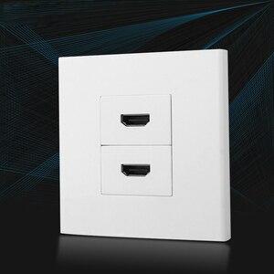 Image 3 - デュアルhdmiソケット前面プレートパネルl字HDMI2.0 プラグメス延長コンセント