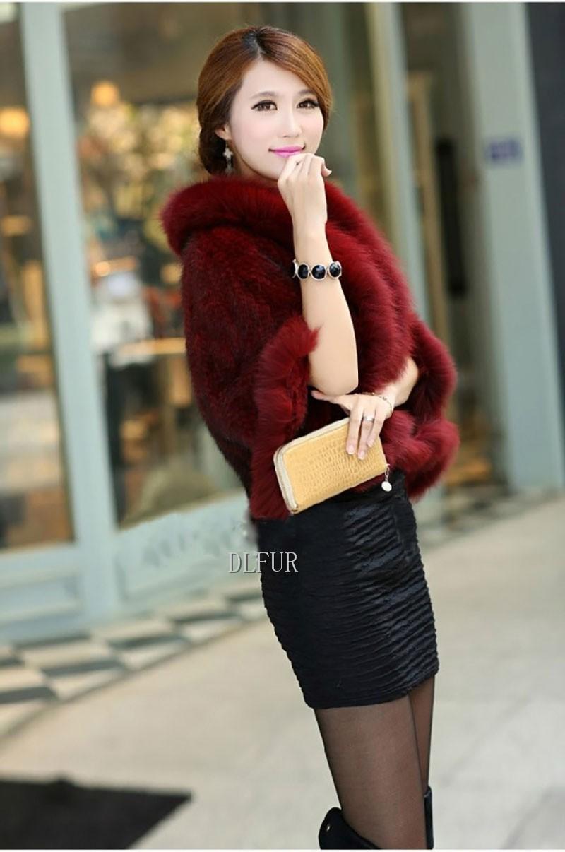 Hot Sale Genuine Mink Fur Shawl With Fox Fur Trim Women Natural Mink Fur Poncho Winter Knitted Mink Fur Jackets DL6235 (7)