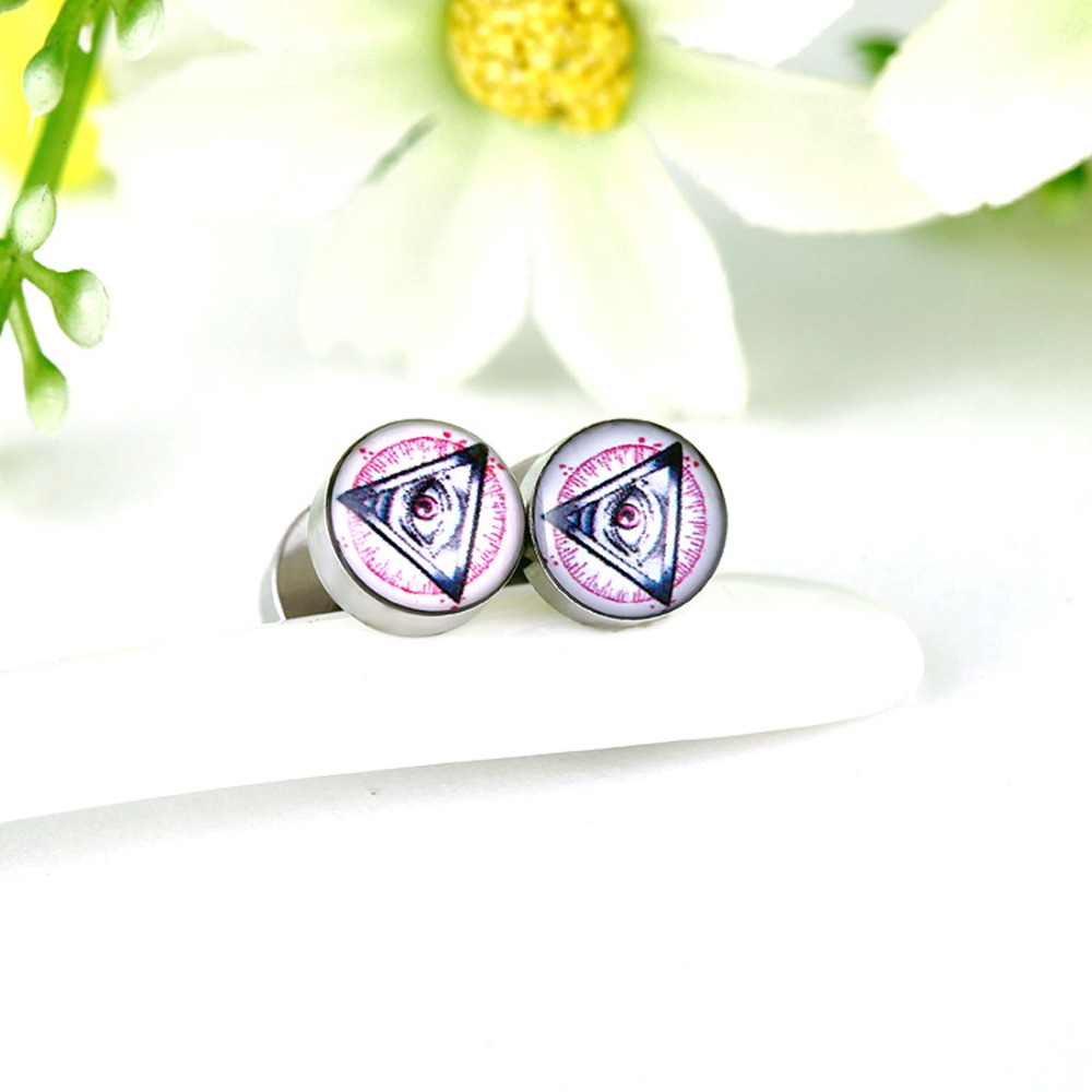 2pcs Lot Eyes Logo Ear Piercing Hypoallergenic Stainless Steel Round Earrings Studs Body Jewelry For Men Women Fake Plug Fp42 In From