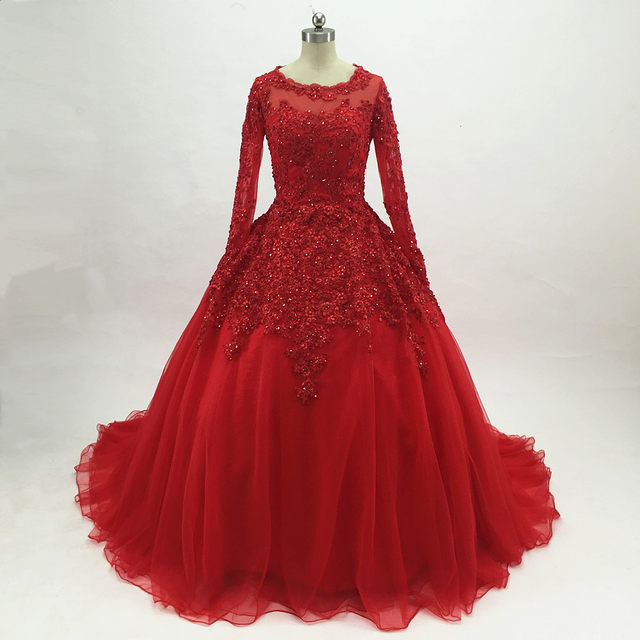 Online Shop Red Lace Tulle Ball Gown Prom Dresses 2017 Long Sleeves ...