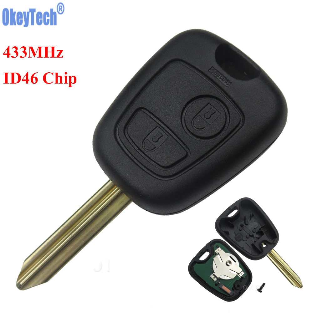 OkeyTech Car Remote Key Fob 2 Buttons 433 Mhz ID46 Chip For Citroen Saxo Picasso Xsara Berlingo SX9 Uncut Blade Replacement Key