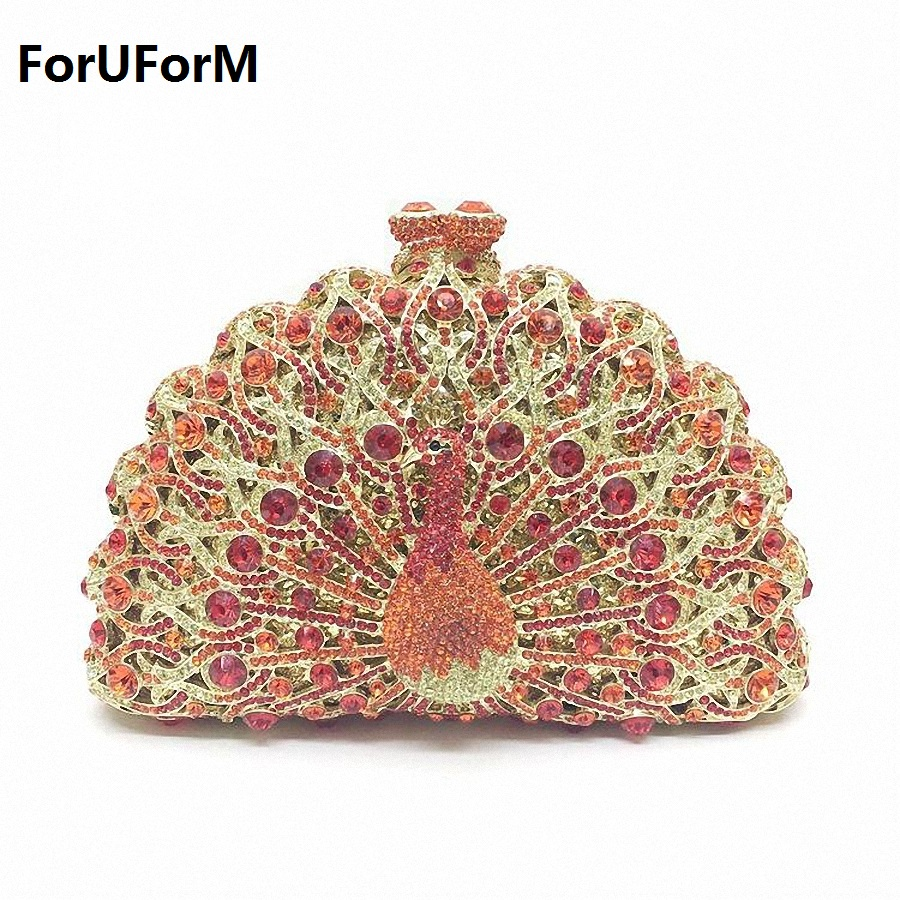 New Design Peacock Shape Evening Bag  Crystal Luxury Clutch Bag Created Diamond Ladies Handbags Party Purse Wedding Bag LI-1560 luxury crystal clutch handbag women evening bag wedding party purses banquet