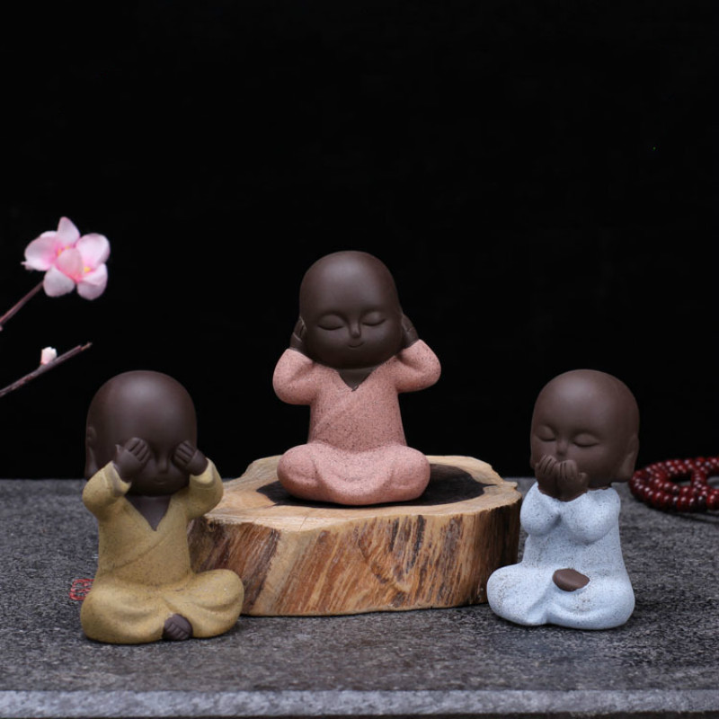 Small Sand Guanyin Ornaments Buddha Statues Purple Send Buddha Statue Monk Tea Pet Boutique buda sculpture home decoration