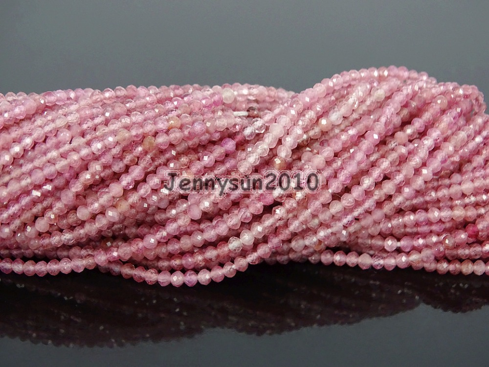 Grade AAA Brilliant Cut Shining Natural Pink Tourmaline Gems Stones 2mm Faceted Round Beads 15 Jewelry Making 2 Strands/Pack