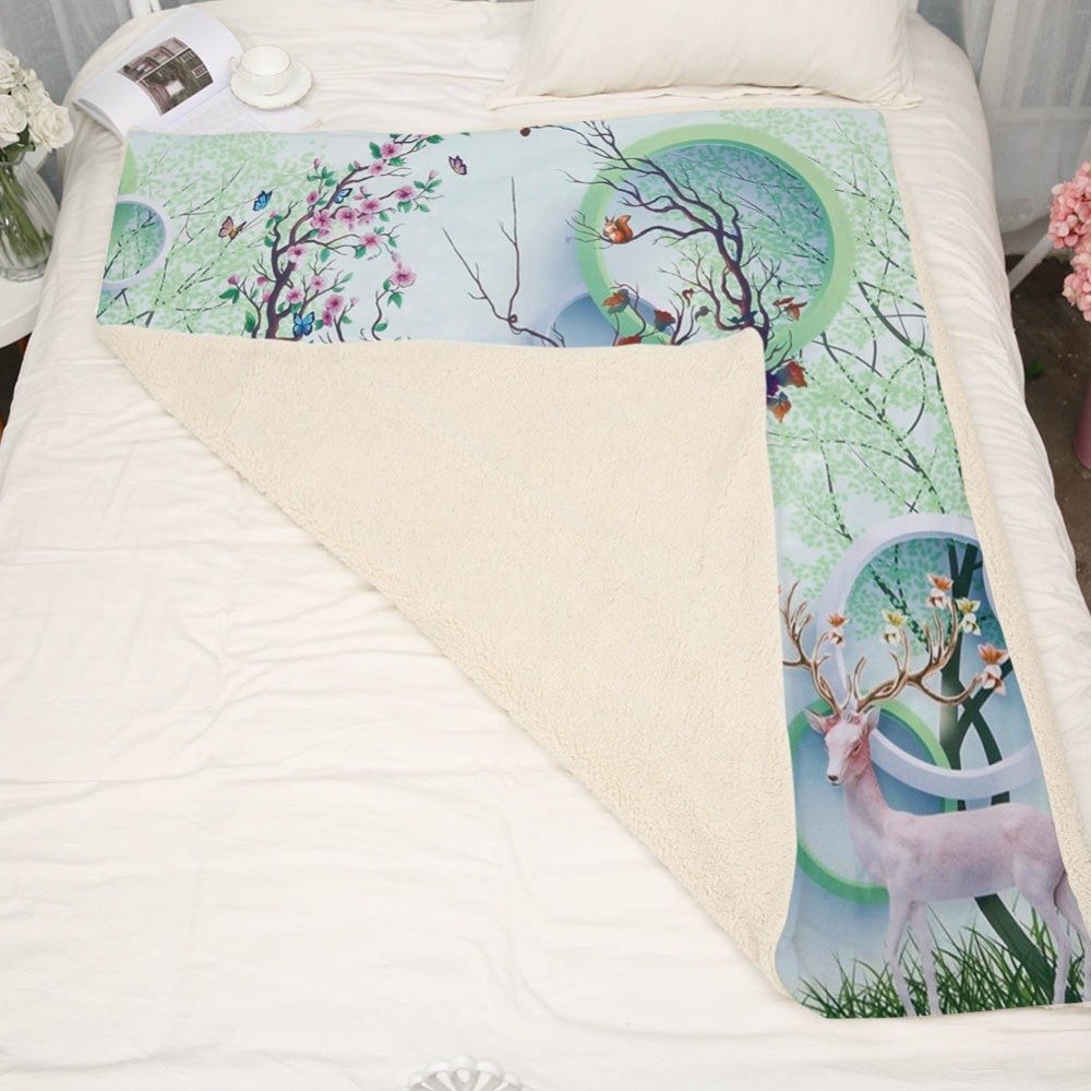 Green Spring Trees Sika Deer Coral Fleece Blankets Portable Office Circle Flannel Throws Blanket Kids Adults Bed Sofa Soft Sheet