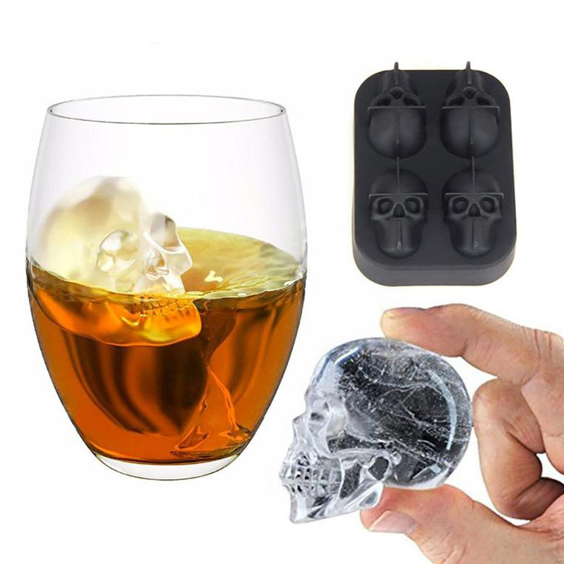 Creative Home 4-Dimensional Skull Ice Tray Cake Jelly Chocolate Mold Party Kitchen Silicone Baking Tools