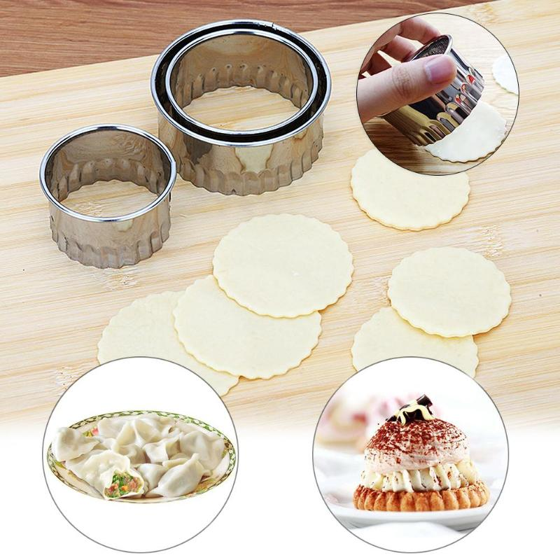 3Pcs/set Stainless Steel Dumplings Wrappers Molds Pastry Cutter Maker Weave Cookie Pastry Dough Press Cutting Tools