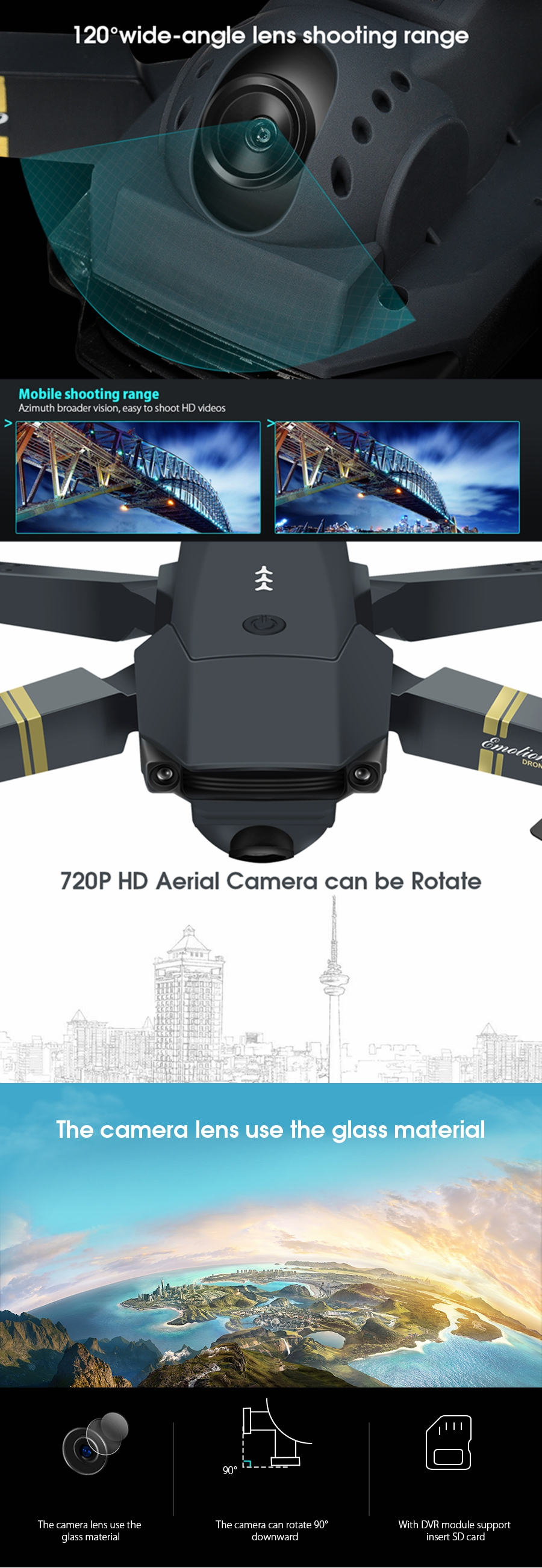 HD 1080P Foldable Quadcopter E58 Drone 12