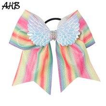 AHB 7 Large Rainbow Glitter Cheer Bow with Hair Elastic Band Wing Rhinestone Cheerleading Girl Ponytail Holder Accessories