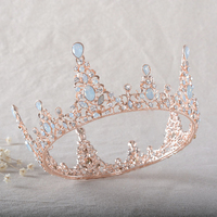 Gorgeous Opal kryształ golded korony kobiety suknia ślubna całoroczne duże tiary bridal party pokaż włosy accessores biżuteria