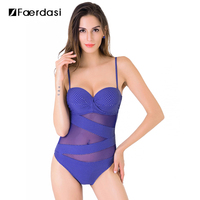 2016 New Arrival Hot Sale One Pieces Adjustable Straps Swimwear Mesh Cover Push Up Swimsuit Dot