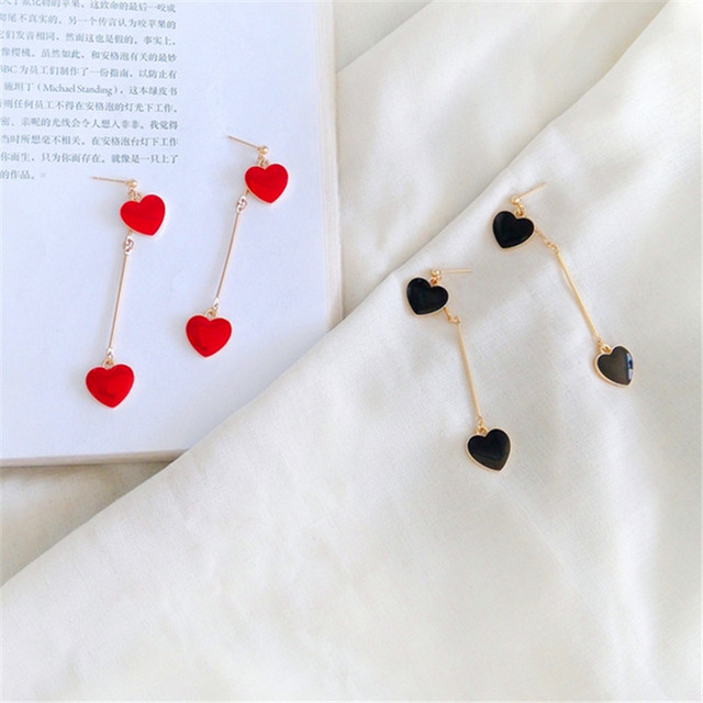 Женские Ювелирные серьги, модные серьги в форме сердца, женские двойные красные серьги в форме сердца