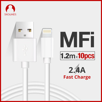 Snowkids MFi Cable 10pieces for iPhone X Xs XR XsMax 8 7 6 5 Data Sync Charger Cable for Lightning to USB Compatible iOS12