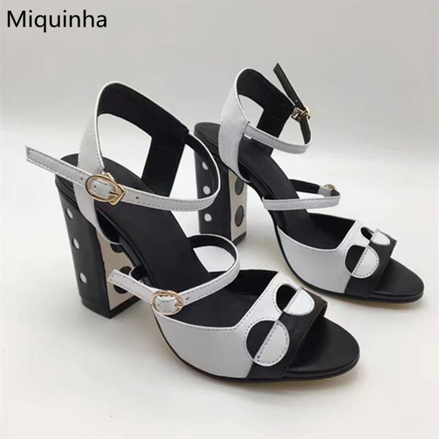 af87f4f39f574 Summer Black White Soft Leather Two-Tone Patchwork Two-Strappy Women Sandals  Polka Dot Cut-Outs Block Heels Pumps Shoes Woman