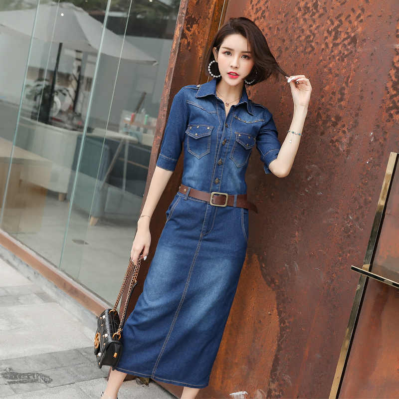 1320d1ac0f3 Spring Autumn Women s Jeans dress Casual Slim Denim Dress long Cowboy Office  Female Ladies Pencil Dresses