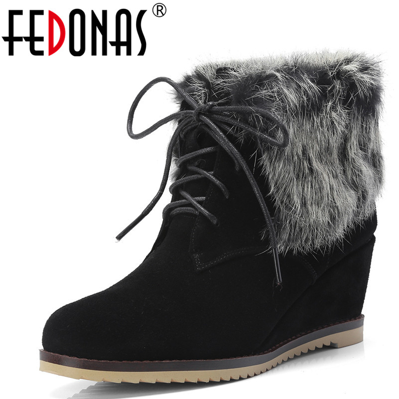 FEDONAS 1Fashion Women Ankle Boots Cow Suede Round Toe Wedges High Heels Shoes Woman Autumn Winter Warm Rabbit Fur Basic Boots цены онлайн