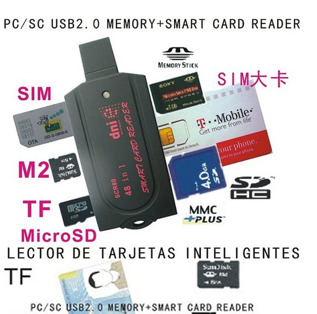 online shop usb smart card reader pc sc scr80 support sd 7 in 1