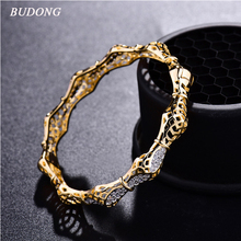 BUDONG Infinity 2017 Luxury Unique Bangle for Women Silver/Gold-Color Pulsera White CZ Zircon Crystal Wedding Jewelry XUZ023