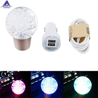 Universal Fit Crystal Ball Style Disco LED Illuminated Car Gear Shift Knob With Charger and Data Cable LED Shift Knob