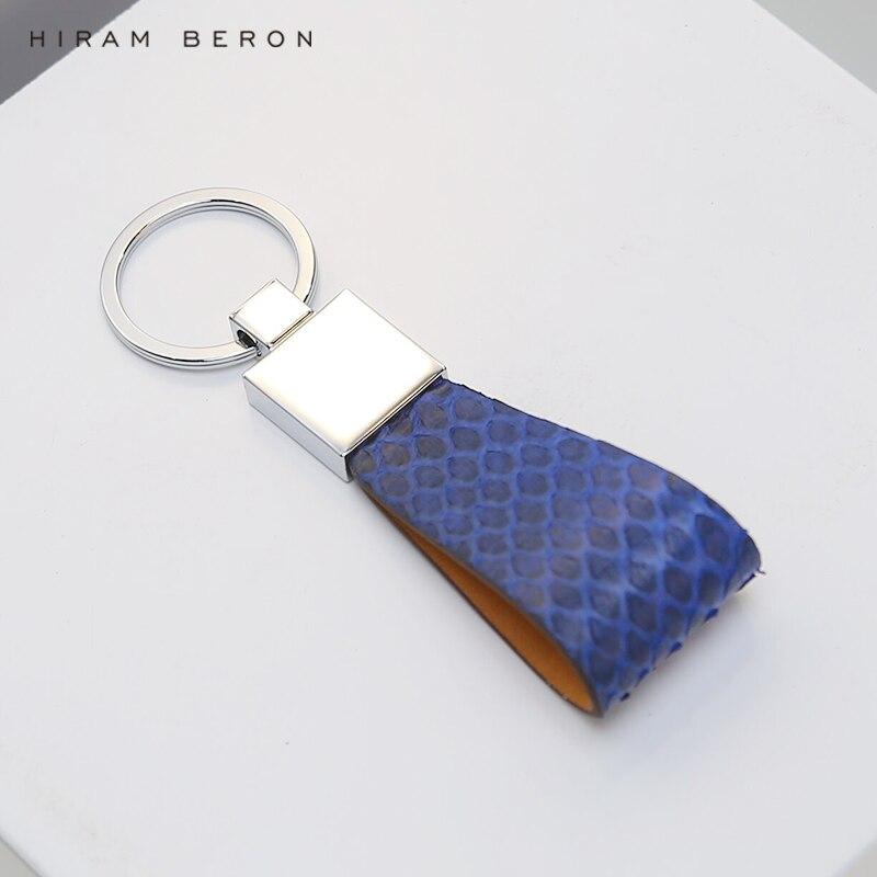 Hiram Beron Мужская ключница синяя кожа питона индивидуальные инициалы персонализировать с Подарочная посылка