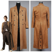 Quién es Doctor Who dr. Brown Cosplay traje largo Trencas capa traje de Halloween para los hombres por encargo