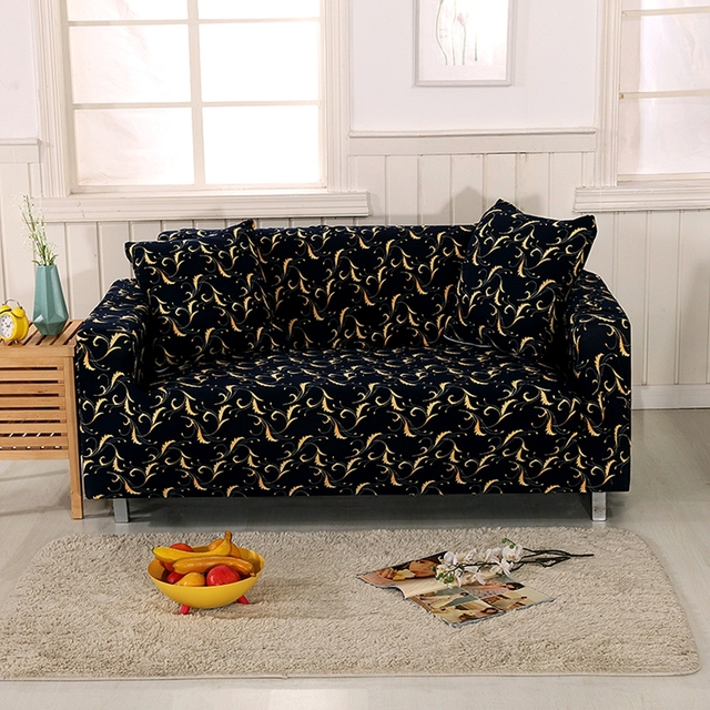 Black Stretch Sofa Covers 100% Polyester Corner Sofa Slipcovers For ...