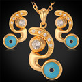 U7 Turkish Jewelry Sets For Women Yellow Gold Plated Rhinestone Crystal Evil Eyes Wholesale Necklace Earrings Set Lucky S148