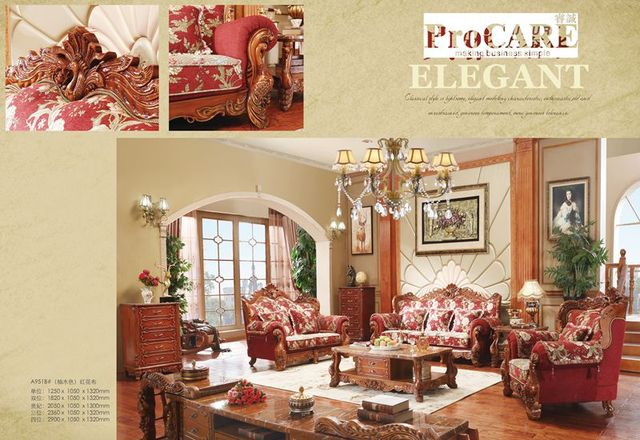Luxury Antique Italian Style Red Color Fabric Sofa Set For Living Room Furniture 3 2 1
