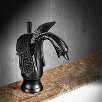 AUSWIND Antique European Black Oiled Bronze Faucet Soild Brass Dragon Or Swan Shape Water Tap Bathroom