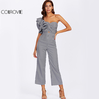 COLROVIE One Side Ruffle Twisted Striped Jumpsuit Black And White Women Jumpsuits 2017 Fall Flounce Sleeve