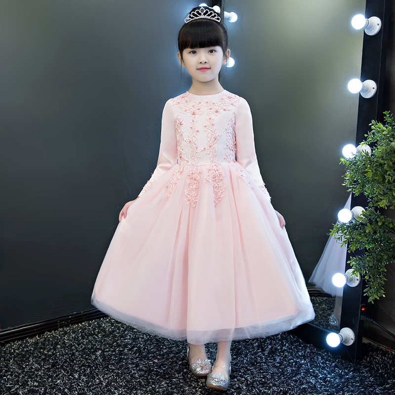 Elegant Flower Girls Pink Beading Winter Angel Pageant Dress Teenagers Party Banquet Birthday Long Sleeve First Communion Dress 2018 new summer long elegant white flower girls dress kids baby teenagers first communion pageant girl wedding party dresses