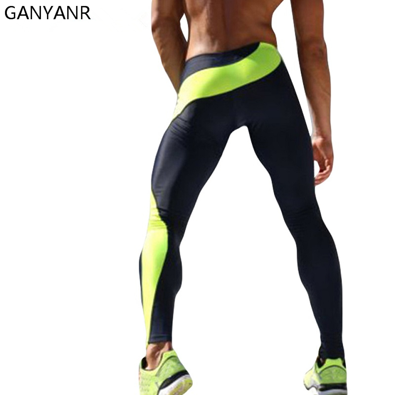GANYANR Brand Running Tights Menn Komprimering Fitness Crossfit Trening Gym Legging Sports Jogging Long Yoga Athletic Bukser