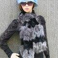 2017 New Women Genuine knitted Fox Fur carf Real rex rabbit Fur collar Winter Warm Neck Warmers stole silver fox free shipping