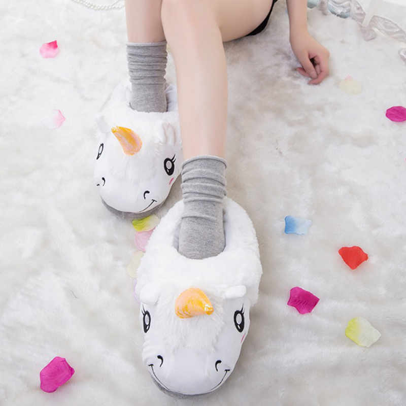 Unisex Unicorn Cotton Home Slippers Licorne Indoor Christmas Plush Animal Slippers House WAdult Winter Indoor Cover Heel Shoes plush winter slippers indoor animal emoji furry house home with fur flip flops women fluffy rihanna slides fenty shoes