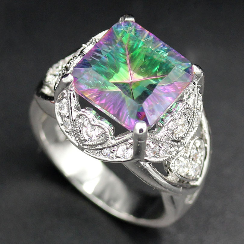 Fleure Esme engagement ring Rainbow White Square Mystic Stone Noble Women Jewelry Accessories Gift R770 sz# 6 7 8 9 The price of