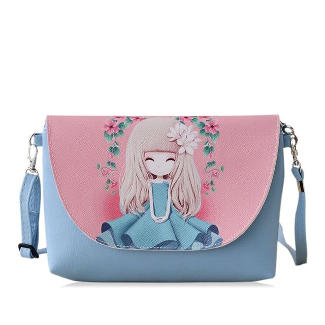 dea81ca7fce9 2018 New Cartoon printing Women bag Female PU leather Mini Crossbody Shoulder  bags Girls Messenger bag