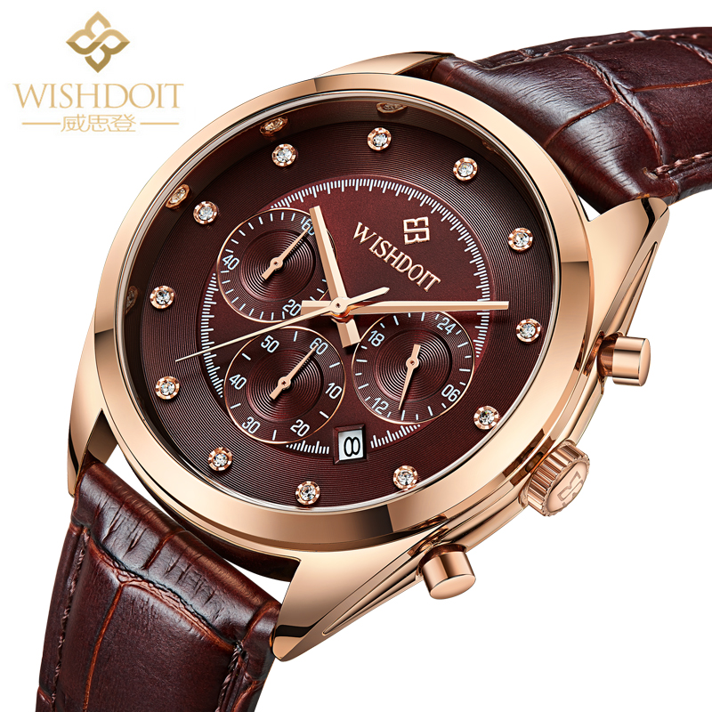 WISHDOIT Men Dress Watches Man Fashion Luxury Watch 3dials Quartz Clock Multifunction Leather Date Chronograph Sports