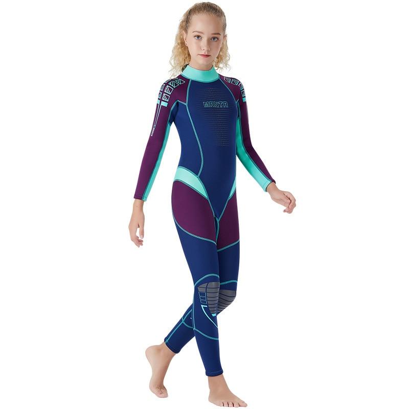 New Wetsuit Children for Boys Girls Keep Warm Long Sleeves UV Protection Swimwear One-piece 2.5 MM Neoprene Kids Diving Suit - Цвет: Фиолетовый