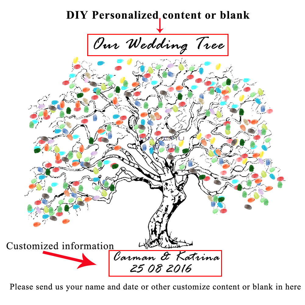 HAOCHU Wedding Fingerprint Tree DIY Signature Guest Book Baby Shower Birthday Party Decoration Canvas Painting +Ink Pad Gift