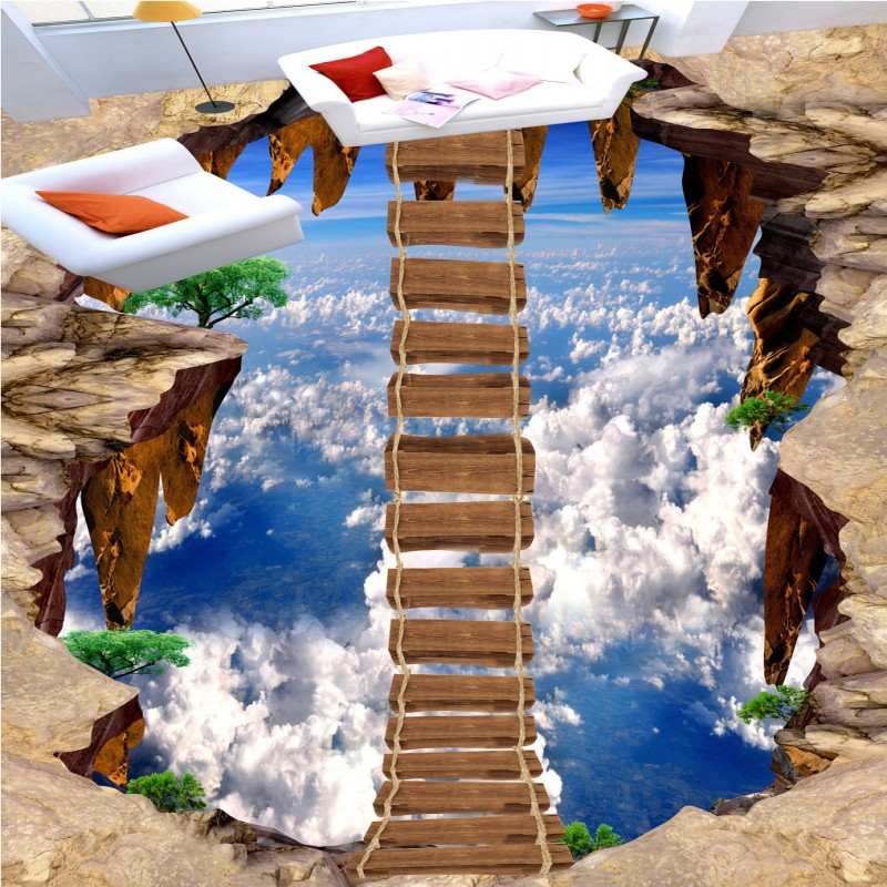 Free shipping sky floating wooden bridge painting custom for Bathroom floor mural sky