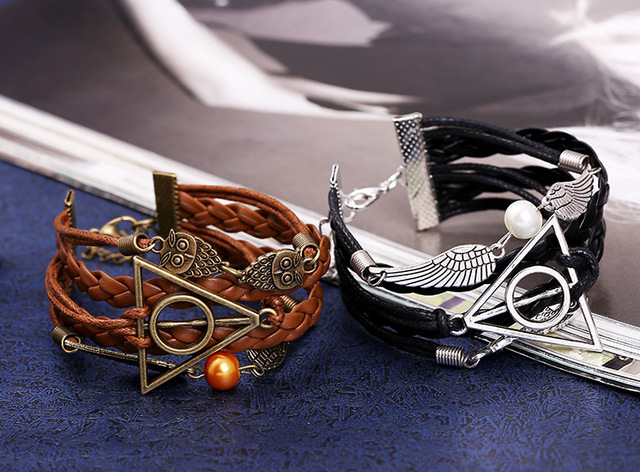 Owl and Wing Matched with Vintage Braided Genuine Leather