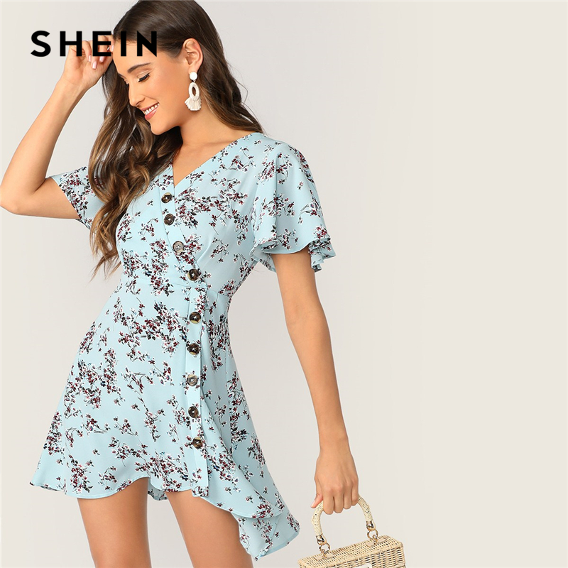 3e51a0df33 SHEIN Boho Blue Ditsy Floral Asymmetrical Button Front Summer Dress Women  Butterfly Sleeve Wrap Fit and