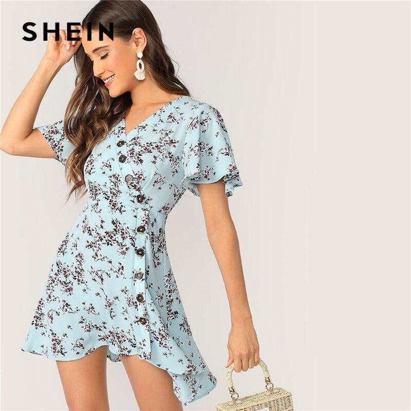 SHEIN Boho Blue Ditsy цветочное асимметричное летнее платье на пуговицах для женщин с рукавом-бабочкой, облегающее и расклешенное платье трапециеви...