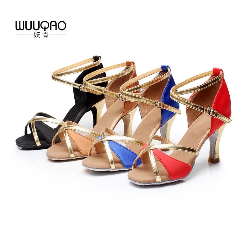 Wuuqao tango feminino/salão de baile/latina sapatos de dança profissional salsa salto alto para meninas