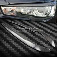 High Quality Real Carbon Fiber Decoration Headlights Eyebrows Eyelids Cover For Mitsubishi Lancer EVO 2008 2014